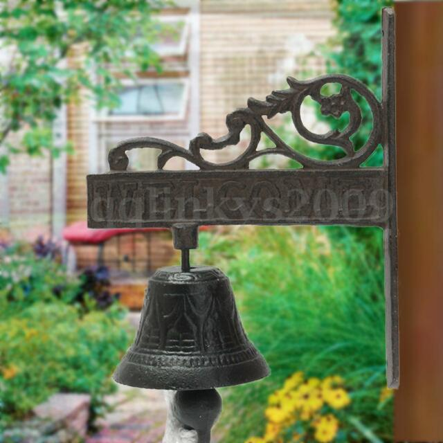 Vintage Rustic Solid Metal Cast Iron Hanging Wall Mounted Welcome Home Door Bell