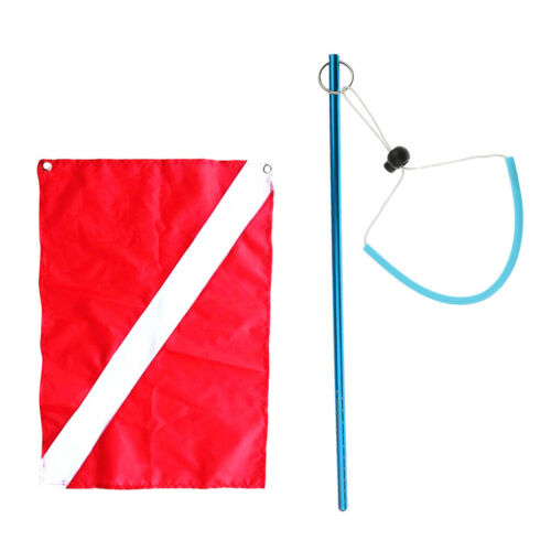 MagiDeal Diver Down Flag Boat Flag Signal w// Stick Pointer for Scuba Diving