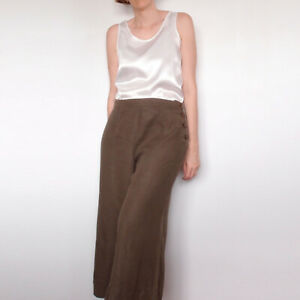 VERONIKA-MAINE-Khaki-Brown-Linen-Culottes-Cropped-Wide-Leg-Pants-Button-Size-12