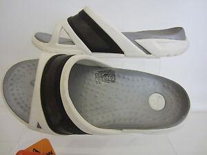 Crocs-prepair-Diapositiva-Blanco-Negro-Unisex-Sandalias-Uk3-X-10-41a