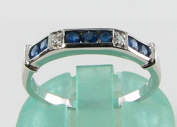 CLASS 9CT WHITE gold SAPPHIRE DIAMOND ART DECO INS ETERNITY RING FREE RESIZE