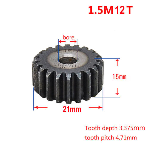 1.5Mod 12T 45# Steel Motor Spur Pinion Gear Outer Dia 21mm Thickness 15mm Qty 1