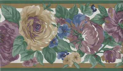 COUNTRY CABBAGE ROSES WITH GREEN TRIM  WALLPAPER BORDER