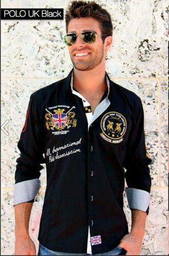 Absolute Rebellion Men/'s Long sleeve embroidery Black shirt Polo UK theme