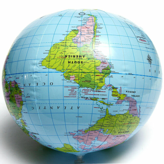 Inflatable Blow up World Globe 40cm Earth Atlas Ball Map Geography