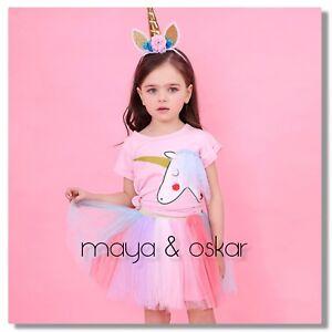 d762882a Baby Girls Unicorn Tutu Skirt Pink T-shirt Outfit Party Set + ...