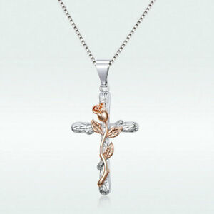 Flower-Plant-Cross-Pendant-Chain-Necklace-Rose-Gold-Plated-Jewelry-Gift-To-Women