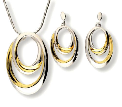 ANHÄNGER+OHRHÄNGER Schmucketui 925 Silber SCHMUCKSET teilweise vergoldet inkl