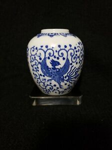 Blue-and-White-Phoenix-Ware-Ginger-Jar-Vase-Dome-ONLY