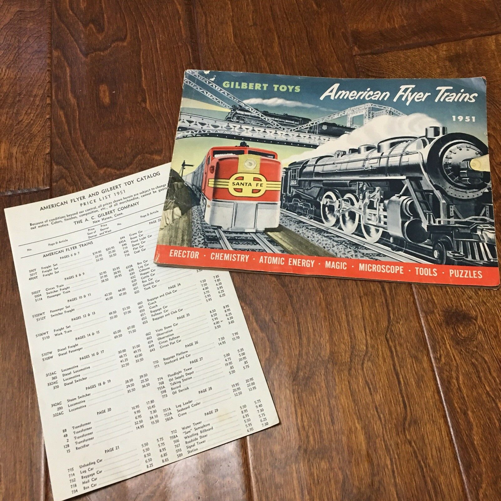 Vtg  Collectible 1951 American Flyer Gilbert Catalog Original Trains price list