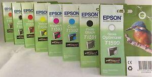 8-x-Original-Tinte-Epson-Stylus-Photo-R2000-T1590-T1591-T1592-T1593-T1594-T1599