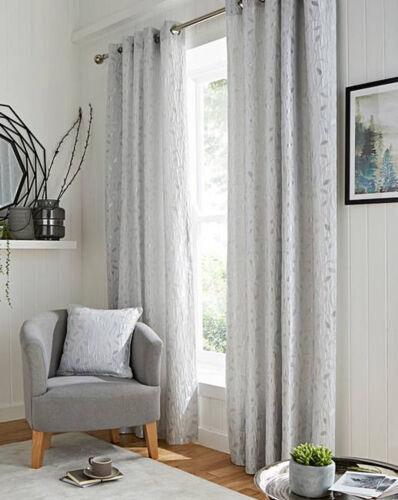 Machine Wash Lola Trail Leaf Ring Top Lined Metallic Textured Jacquard Curtains