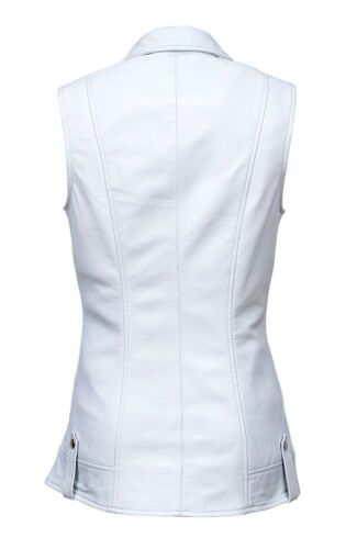Biker Ladies Casual New Style Design White Luxury Waistcoat Leather Real Nappa ZURqwpE5