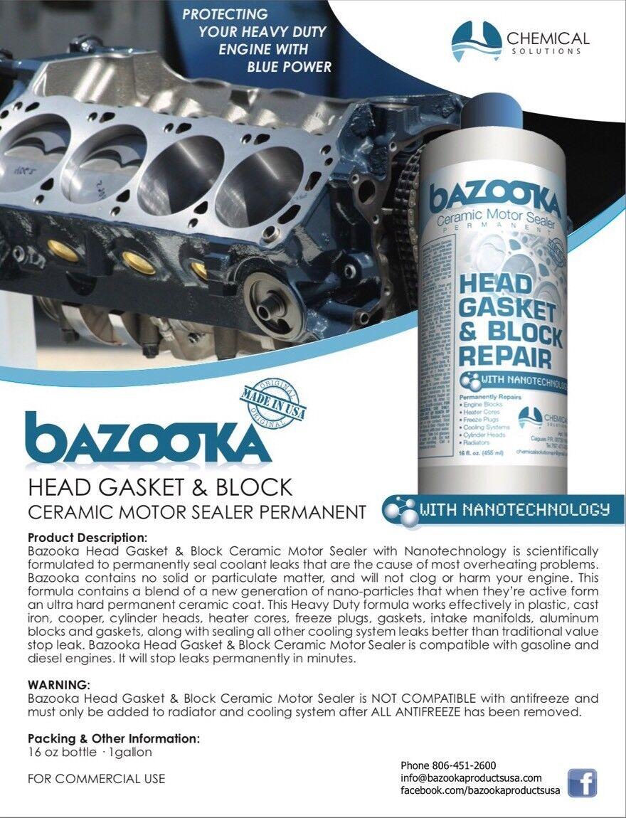 Bazooka Head Gasket & Block Sealer Repair of 16oz Bottle