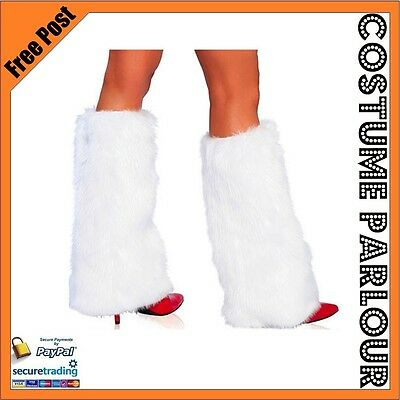 Womens Ladies Mens White Fluffy Furry Boot Covers Rave Leg Warmers