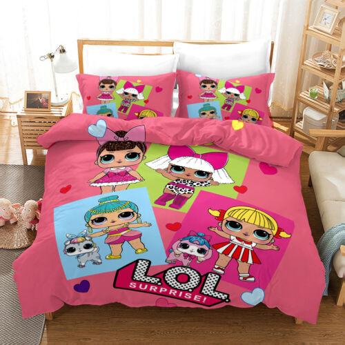 3D LOL Surprise Dolls Bedding Set 3PC Duvet Cover Pillowcase Single Double King
