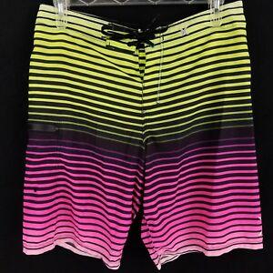 953474c4f2182 Image is loading Hurley-Phantom-Pink-Yellow-Black-Striped-Board-Shorts-