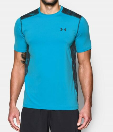 Under Armours Mens UA RUN Shirts Meridian Blue and Electric Blue Carbon