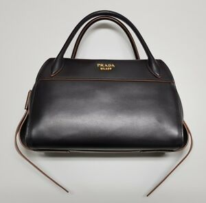 NEW PRADA Bauletto I City Calf Nero Handbag 1BB030 Ribbon Bowling ... c0b3be2f38a84