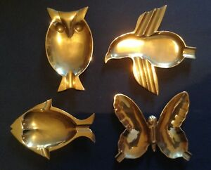 Quattro-posacenere-ottone-forma-civetta-farfalla-pesce-pinguino-per-tavolo-gioco