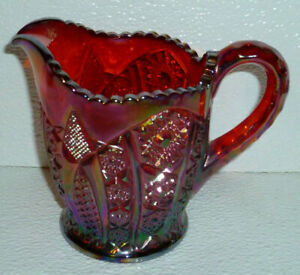 Indiana-Creamer-Sunset-Red-Carnival-Glass-Paneled-Daisy-Vtg-Iridescent-4-75-034