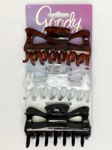 Clear Tortoise New NWT 3 Count Black Goody Classics Large Rectangle Claw Clip