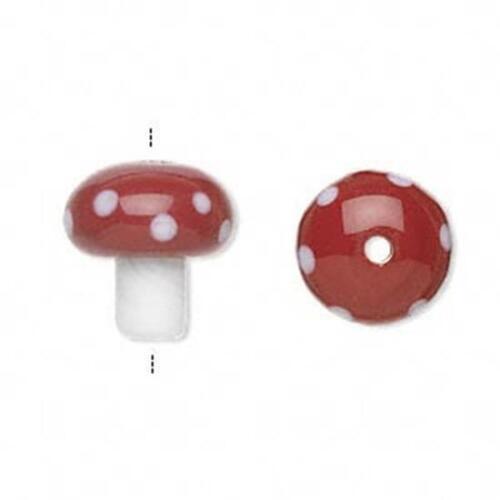 7289 Glass Lampwork Toadstool Mushroom Bead PK2 14mm *UK  SHOP*