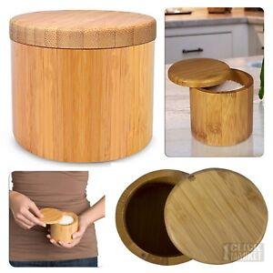 Details about BAMBOO SALT BOX Kitchen Spice Pepper Round Jar Container  Storage Case Magnet Lid