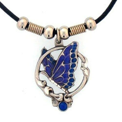Leather Cord Necklace w// Butterfly Charm