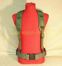 US Military Load Bearing Suspenders Y Strap w USMC Medium Pistol Waist Belt FAIR