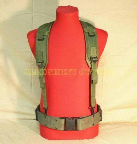 Original US Military Army Webbing System Med Pistol Web Belt w// Y Suspenders VGC