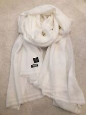 White Pure Cashmere Wool Scarf Shawl Wrap Nepal Handmade Fine Knit Gift Soft NEW