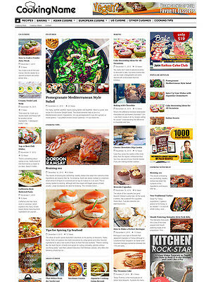 COOKING & RECIPES FOOD website for sale Affiliate and Mobile Responsive