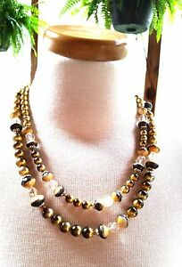 Gorgeous-Japan-Double-Strand-Gold-Black-Glass-Vintage-Bead-Necklace