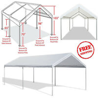 Outdoor Carport Garage Tent 10x20 Steel Frame Car Canopy Shelter Cover White