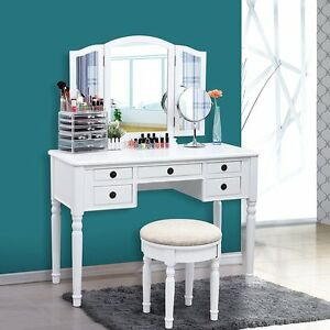 Image Is Loading 3pcs Vanity Set Stool Folding Mirror Make Up