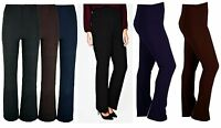 New Ladies Women Soft Stretch Pull On Bootleg Ribbed Trousers Plus Size 8-26