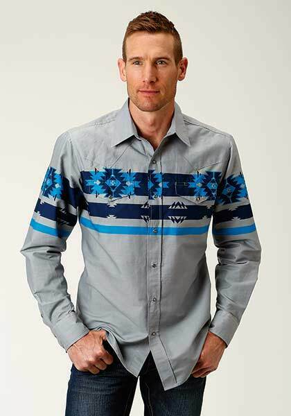 Roper Mens grigio Snap Boarder blu Aztec Art Long Sleeve Button Up Shirt SMALL