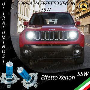 Coppia Lampade Lampadine H4 Blue Jeep Renegade Effetto Xenon Bianco