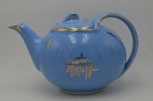 Hall-Six-Cup-0749-Hook-Lid-Cadet-Blue-Porcelain-Teapot-Made-In-USA