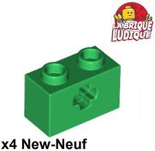 Lego Technic - 4x Brique Brick 1x2 Axel hole vert/green 32064 NEUF