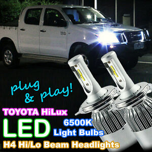 plug and play h4 white led headlight bulbs to suit 2006 2015 toyota