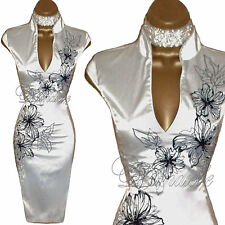 JANE NORMAN Stunning IVORY Satin ORIENTAL Pencil DRESS UK 8 Weddings Cocktails
