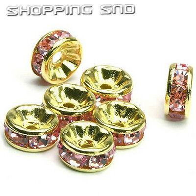 100pcs Premium Quality Czech Crystal Rhinestone Gold Rondelle Spacer Charm Beads