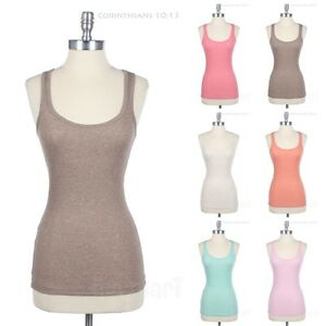 Heather-Ribbed-Cotton-Racerback-Tank-Sleeveless-Casual-Top-Easy-Wear-Active-Span