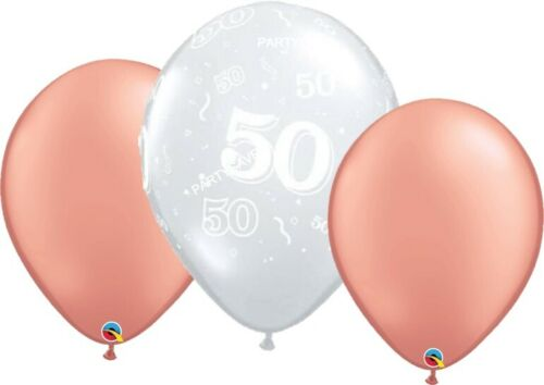 30 Age 50 50th Rose Gold Clear Birthday Party Helium Balloons Bouquet Decoration