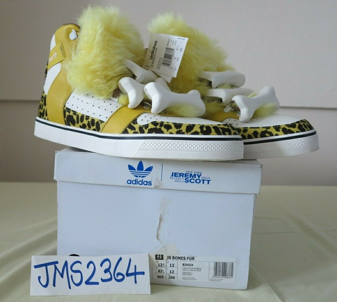MENS ADIDAS ORIGINALS JEREMY SCOTT BONES FUR gold YELLOW 12US 47.1 3F NEW