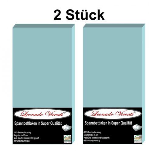 2 Stück Spannbettlaken Hellblau 90//100x200 Standardmatratzen Baumwolle Jersey