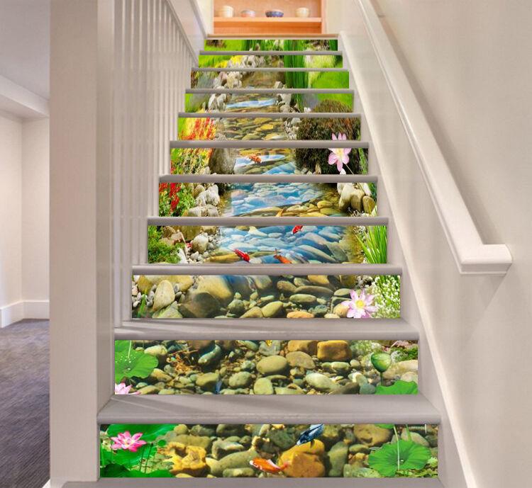 3D Gras-Stein 645 Stair Risers Dekoration Fototapete Vinyl Aufkleber Tapete DE