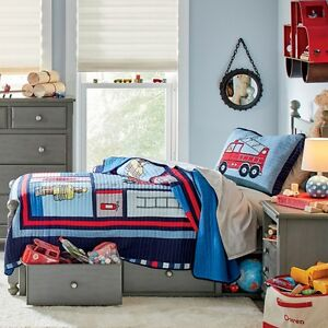 FIREFIGHTER Full Queen QUILT SET BOY FIREMAN FIRE TRUCK LADDER ENGINE BED